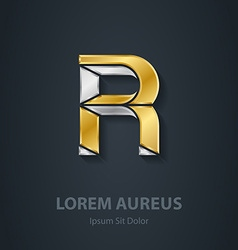 Letter R Template for company logo 3d Design vector