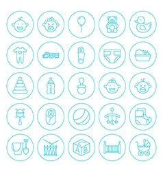Line Circle Baby Child Icons Set vector image
