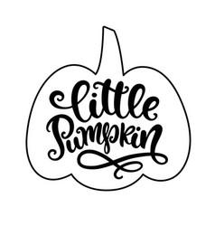 Little pumpkin poster with handwritten lettering vector