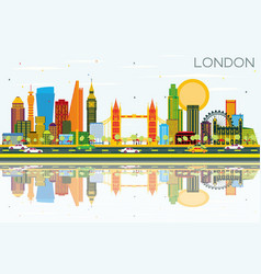 London skyline with color buildings blue sky and vector