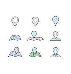 maps and geo pins vector image