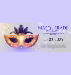 Masquerafe flyer template with gold carnival mask vector