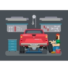 Mechanic Repairs Car in the Garage vector image