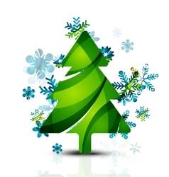 Merry Christmas tree modern abstract geometric vector