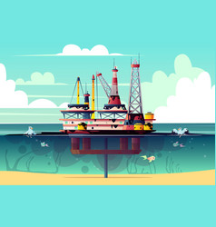 oil rig in water with pollution vector image