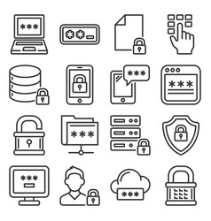 password and information technology security icons vector image