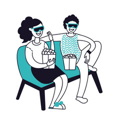 people in home cinema happy couple sitting vector image