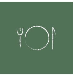 Plate with cutlery icon drawn in chalk vector