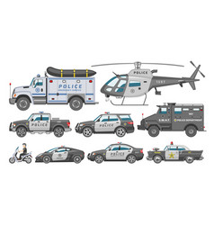 Police car policy vehicle or helicopter and vector