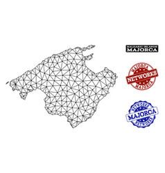 Polygonal network mesh map of majorca and vector