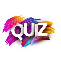 Quiz sign with colorful brush strokes vector