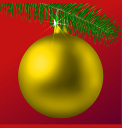 Realistic golden matte christmas ball or bauble vector