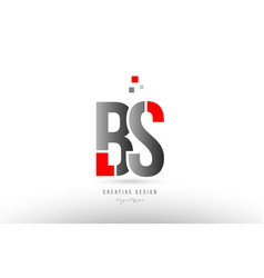 Red grey alphabet letter bs b s logo combination vector
