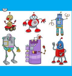 Robots or droids cartoon characters set vector