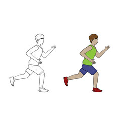 running hand drawn sketch and color vector image