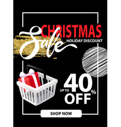 sale on christmas holiday leaflet discounts info vector image