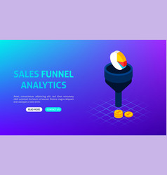 sales funnel analytics banner vector image