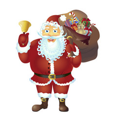 santa claus with bell isolated christmas new vector image