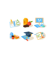 school icons set different school supplies vector image