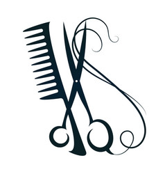 scissors and comb hair vector image