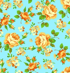 Seamless floral pattern with yellow roses vector