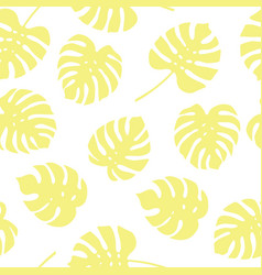 seamless pattern of yellow monstera leaves vector image