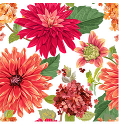 seamless pattern with red asters flowers floral vector image