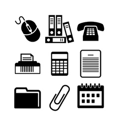 Set of black and white office icons vector image