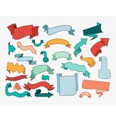 Set of cartoon hand drawn ribbons and labels vector image