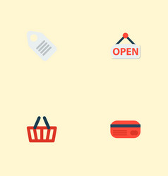 set of store icons flat style symbols with opening vector image
