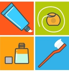 Set of toothcare things vector image