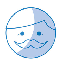 Shadow round moustache man face cartoon vector