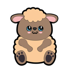 Sheep kawaii cartoon vector