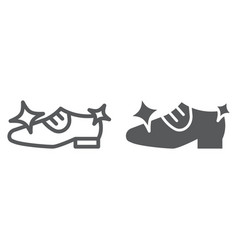 shoe cleaning line and glyph icon clean and shoes vector image