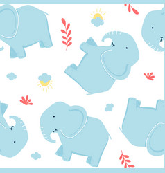 sketch elephant seamless pattern for boys vector image