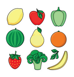 sketch style fresh fruits vegetables set vector image