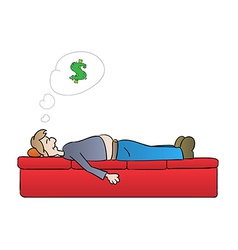 Sleeping man and dreaming about money vector