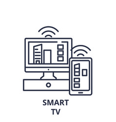 smart tv line icon concept smart tv linear vector image