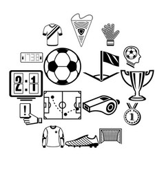 Soccer football icons set simple style vector