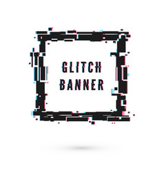 Square banner with distortion effect - glitch vector