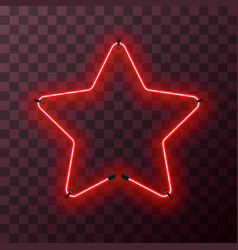 star-shaped bright red neon frame template vector image