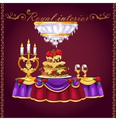 Table with two glasses wine cake and candles vector
