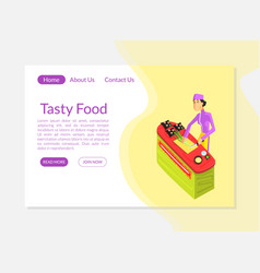 tasty food banner landing page template culinary vector image