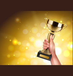 Trophy in hand composition vector