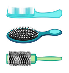 Types of hair combs and hairdressing brushes vector