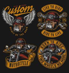 vintage colorful motorcycle labels set vector image