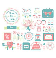 vintage set decorative cute wedding vector image