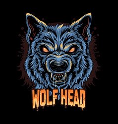 warewolf head angry face artwork vector image