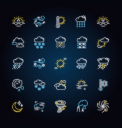 weather neon light icons set vector image