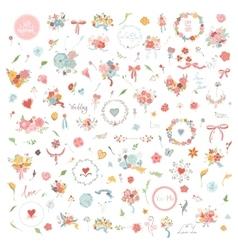 wedding hand drawn vintage floral elements set vector image